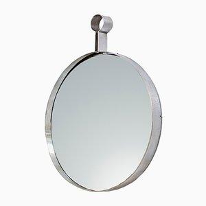 Italienischer Vintage Spiegel mit rostfreiem Stahlrahmen, 1970er