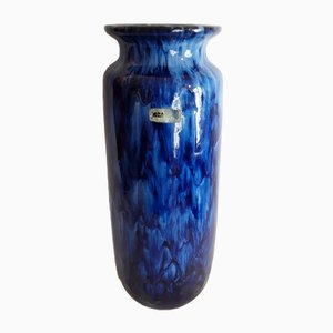 Grand Vase 206/27 Vintage en Céramique Bleue de Scheurich