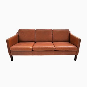 Vintage Scandinavian Tan Leather Sofa