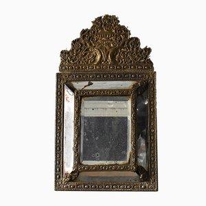 19th-Century Napoleon III Brass Cushion Mirror