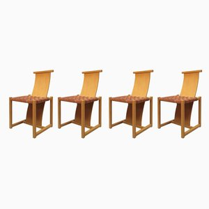 Esszimmerstühle mit Gestell aus Buche & Lederbezug, 1980er, 4er Set