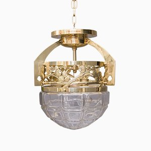 Antique Art Nouveau Brass and Cut Glass Ceiling Lamp, 1908