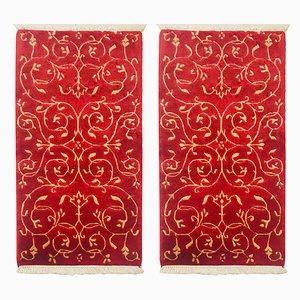 Alfombras vintage de lana roja y dorada, 1983. Juego de 2