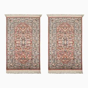 Indische Vintage Kashmir Teppiche aus Seide & Wolle in Blau & Rosa, 1973, 2er Set