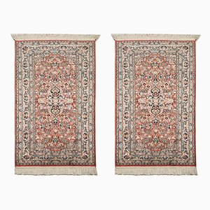 Vintage Indian Blue & Pink Silk and Wool Kasmir Carpets, 1973, Set of 2