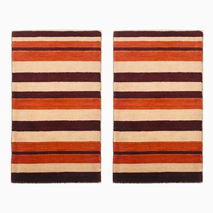 Vintage Indian Brown & Orange Wool Carpets, 1983, Set of 2