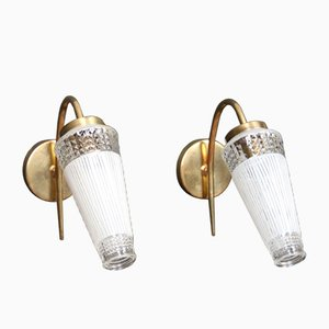 Vintage Brass and Glass Sconces, Set of 2