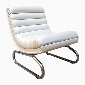 Vintage Italian Leather and Steel Lounge Chair, 1970s