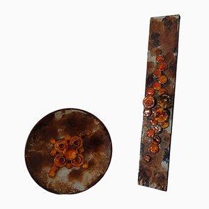Juego de plato de pared vintage de cerámica de Ruscha, años 70