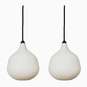 Opaline Glass and Teak Ceiling Lamps by Uno & Östen Kristiansson for Luxus, 1960s, Set of 2