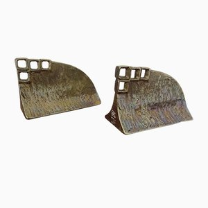 Brutalist Brass Bookends, 1960s, Set of 2
