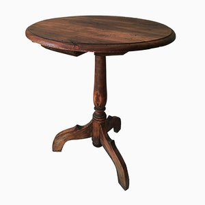 Vintage French Walnut Bistro Table, 1920s