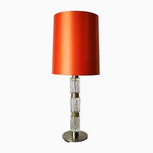 Lámpara de mesa alemana de cromado y vidrio, años 70