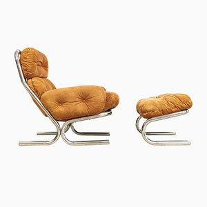 Mid-Century Chrome & Suede Lounge Chair with Ottoman by Milo Baughman for Directional, 1970s