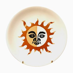 Sunshine Earthenware Plate by Jean Picart Le Doux for Salins,1960s