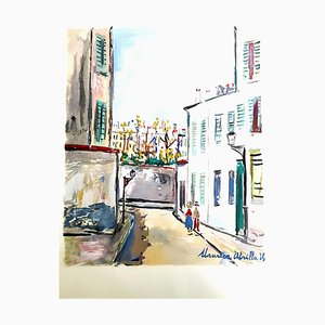 Inspired Village of Montmartre Pochoir by Maurice Utrillo, 1950s