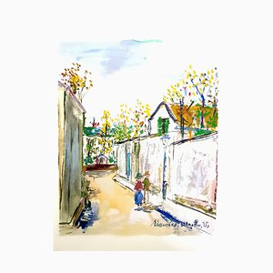 Inspired Village of Montmartre Stencil by Maurice Utrillo, 1950