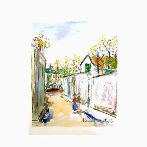 Inspired Village of Montmartre Stencil von Maurice Utrillo, 1950