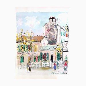Pochoir Inspiré du Village de Montmartre par Maurice Utrillo, 1950