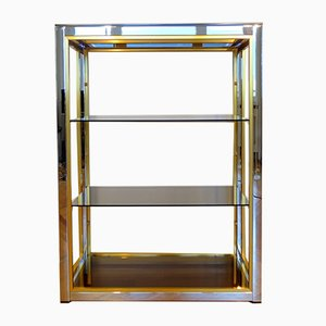 Italian Brass & Chromed Steel Etagere by Romeo Rega, 1970s