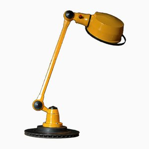 Vintage Industrial Yellow Lacquered Table Lamp by Jean-Louis Domecq