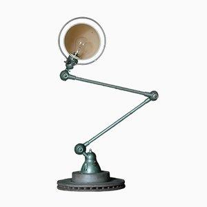 Lámpara de mesa industrial articulada en verde de Jean-Louis Domecq, años 60