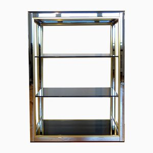Italian Brass, Chromed Steel & Smoked Glass Etagere by Romeo Rega, 1970s