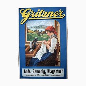 Antike Jugendstil Nähmaschinen-Lithografie von Gritzner