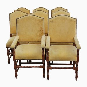Mid-Century Oak High Back Dining Chairs, 1940s, Set of 8