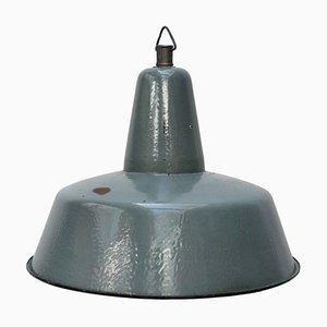 Vintage Industrial Petrol Green Enamel Pendant Lamp, 1950s