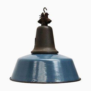 Vintage Industrial Blue Enamel & Cast Iron Pendant Lamp, 1950s