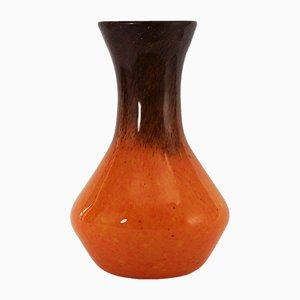 Vase Art Déco en Verre Tacheté Orange et Bronze par Salvador Ysart pour Monart, 1930s
