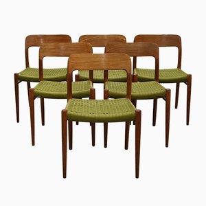 Vintage Nr. 75 Esszimmerstühle aus Teak von Niels O. Møller für J.L. Møllers, 6er Set