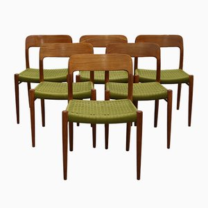 Vintage Teak No. 75 Dining Chairs by Niels O. Møller for J.L. Møllers, Set of 6