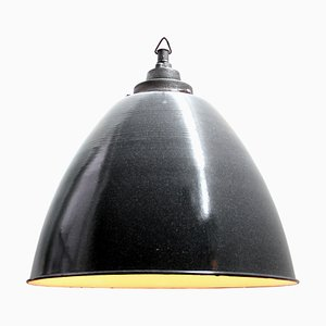 Lampe à Suspension Industrielle en Gris Foncé et Émail, 1950s