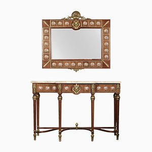 Louis XVI Revival Enamel, Metal, and Marble Console Table & Mirror from H & L Epstein , 1920s