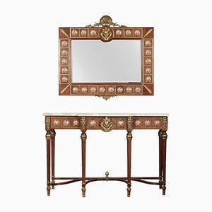 Table Console et Miroir Louis XVI Revival en Émail, en Métal et en Marbre de H & L Epstein, 1920s