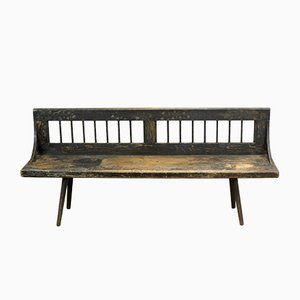 Vintage Rustic German Pine Bench, 1920s