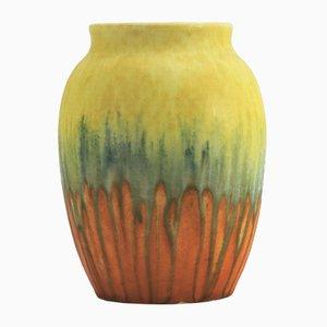 Vase Art Déco en Verre Givré Art Déco de Ruskin Pottery, 1930s