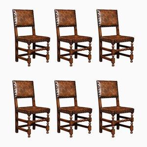 Chaises de Salon Antique en Chêne Sculpté, Set de 6