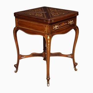 Mesa para juegos de caoba con incrustaciones, siglo XIX