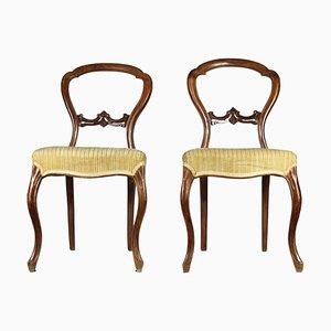 Antike italienische Louis Philippe Beistellstühle aus Nussholz, 1850er, 2er Set