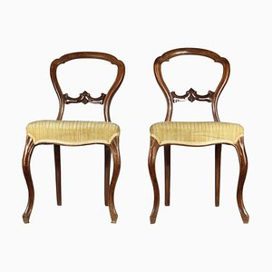 Antique Louis Philippe Italian Walnut Side Chairs, 1850s, Set of 2