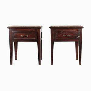 Antique Italian Mahogany Nightstands with Marble Tops, 1890s, Set of 2