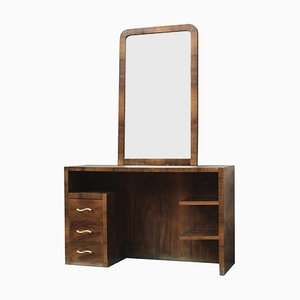 Vintage Italian Walnut Dressing Table with Mirror, 1950s