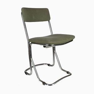Italienischer Vintage Beistellstuhl aus verchromtem Metall, 1970er