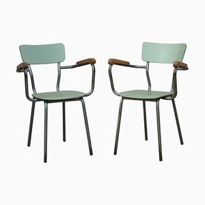 Italian Metal and Wood Armchairs, 1960s, Set of 2