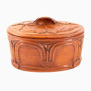 Round Art Nouveau French Solid Walnut Box, 1920s