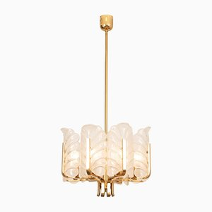 Brass and Glass Hanging Light by Karl Fagerlund for Orrefors, 1970s
