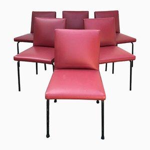 Französische Esszimmerstühle mit Gestell aus Eisen & Kunstlederbezug von Pierre Guariche, 1950er, 6er Set